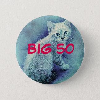 Blue Cat Cute Unique Button