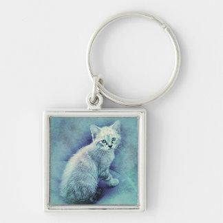 Blue Cat Cute Unique Keychain