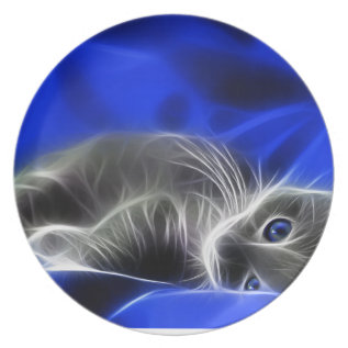 Blue Cat Dinner Plate at Zazzle