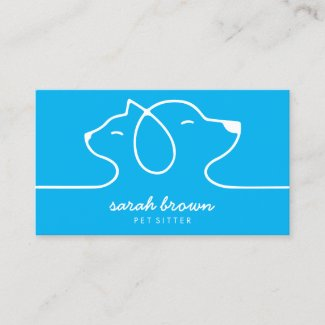 Blue Cat Dog Line Logo Petsitter Business Card