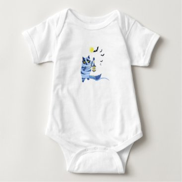 Halloween Themed Blue cat dressed as a Mummy on the graveyard Baby Bodysuit