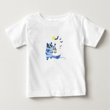 Halloween Themed Blue cat dressed as a Mummy on the graveyard Baby T-Shirt
