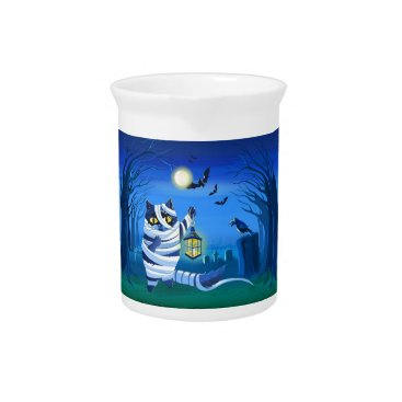 Halloween Themed Blue cat dressed as a Mummy on the graveyard Beverage Pitcher