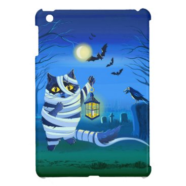 Halloween Themed Blue cat dressed as a Mummy on the graveyard Case For The iPad Mini