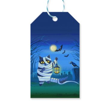 Halloween Themed Blue cat dressed as a Mummy on the graveyard Gift Tags