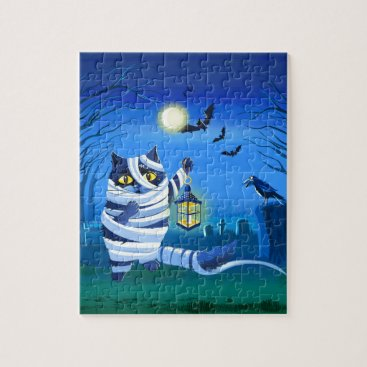 Halloween Themed Blue cat dressed as a Mummy on the graveyard Jigsaw Puzzle