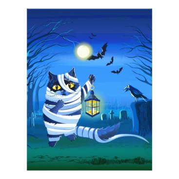 Halloween Themed Blue cat dressed as a Mummy on the graveyard Letterhead