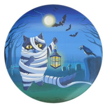 Halloween Themed Blue cat dressed as a Mummy on the graveyard Melamine Plate