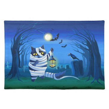 Halloween Themed Blue cat dressed as a Mummy on the graveyard Placemat
