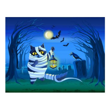 Halloween Themed Blue cat dressed as a Mummy on the graveyard Postcard