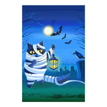 Halloween Themed Blue cat dressed as a Mummy on the graveyard Stationery