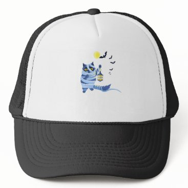 Halloween Themed Blue cat dressed as a Mummy on the graveyard Trucker Hat