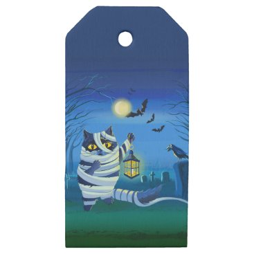 Halloween Themed Blue cat dressed as a Mummy on the graveyard Wooden Gift Tags
