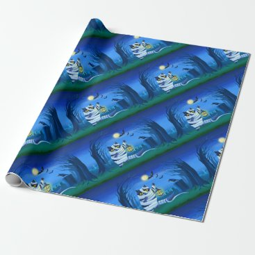 Halloween Themed Blue cat dressed as a Mummy on the graveyard Wrapping Paper