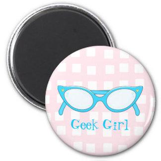 Blue Cat Eye Glasses * 2 Inch Round Magnet