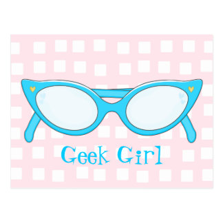 Blue Cat Eye Glasses Postcard