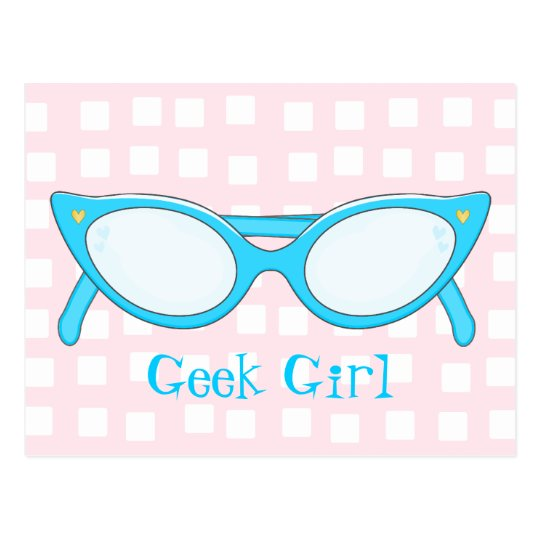 Blue Cat Eye Glasses Postcard