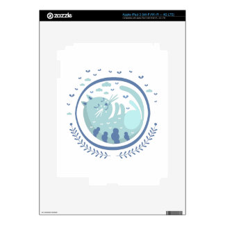 Blue Cat Fairy Tale Character iPad 3 Decals