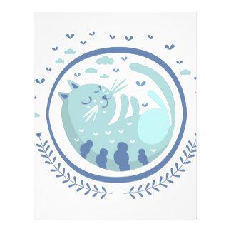 Blue Cat Fairy Tale Character Letterhead