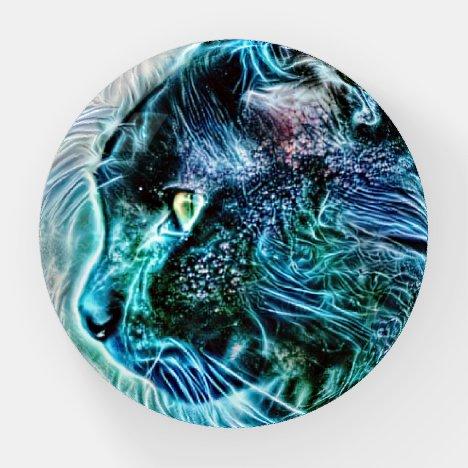 Blue Cat Fantasy Art Glass Paperweight