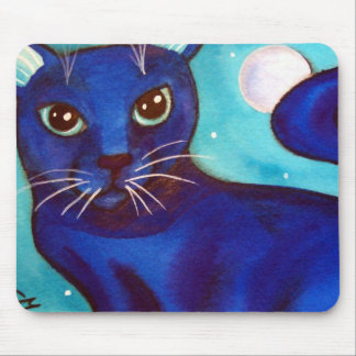 Blue Cat Full Moon Mouse Pad