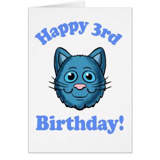Blue Cat Happy 3rd Birthday Card