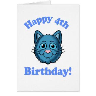 Blue Cat Happy 4th Birthday Card