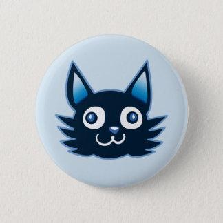 blue cat head cartoon style illustration button