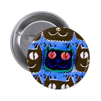 blue cat head tiled pattern illustration inverse button