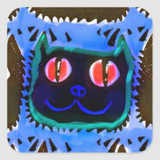 blue cat head tiled pattern illustration inverse square sticker