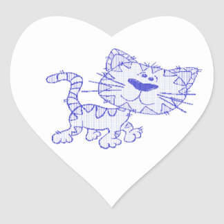 Blue cat heart sticker