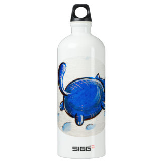Blue Cat In The Snow Aluminum Water Bottle