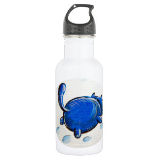 Blue Cat In The Snow Water Bottle