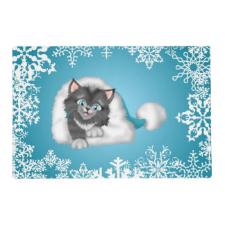 Blue Cat in Winter Hat Holiday Placemat