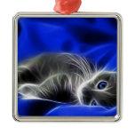 blue cat metal ornament