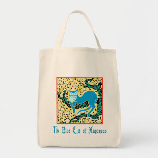 Blue Cat of Happiness Grocery Tote Canvas Bags