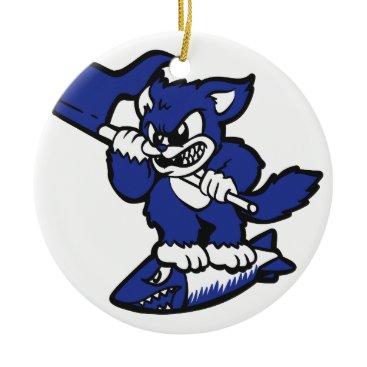 Blue cat on a bomb ceramic ornament