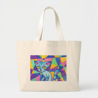 Blue cat on Technocolour background Tote Bags