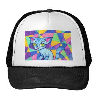Blue cat on Technocolour background Mesh Hat
