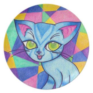 Blue cat on Technocolour background Party Plates