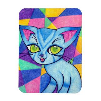 Blue cat on Technocolour background Rectangular Photo Magnet