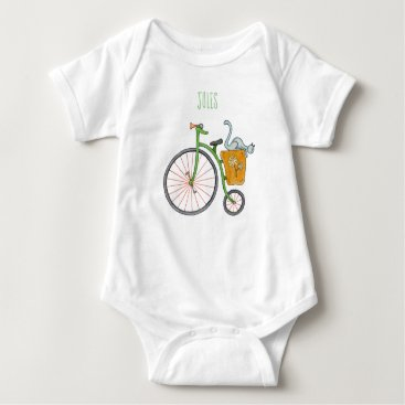 Blue cat on vintage bicycle baby bodysuit