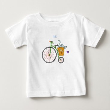 Blue cat on vintage bicycle baby T-Shirt