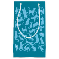 Blue Cat Pattern Small Gift Bag