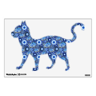 Blue Cat Pattern Wall Decal