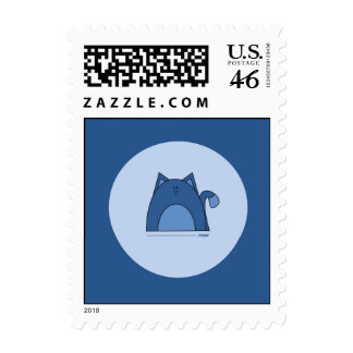Blue Cat Postage Stamps - Rawr Blue Cat Stamps