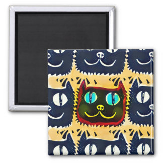 blue cat red contour tiled pattern 2 inch square magnet