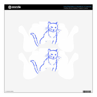 Blue Cat Skin For PS3 Controller
