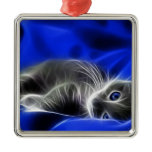 blue cat square metal christmas ornament