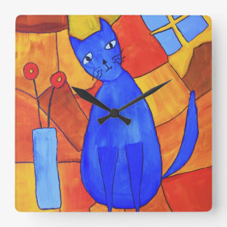 Blue Cat Square Wall Clock